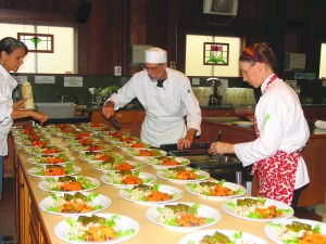 Students have fun catering a delicious Mediterranean meal