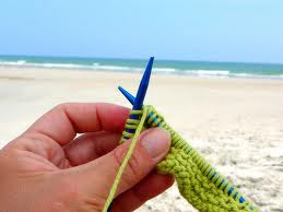 knitting by ocean